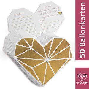 WeddingTree 50 Ballonkarten Hochzeit Vintage - Herz Design - Gelocht