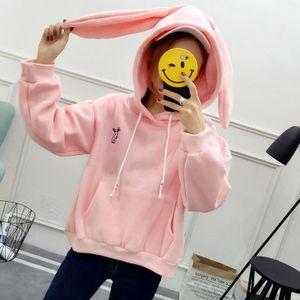 Neue Mode Frauen Hoodie Hoody Sweatshirts Kordelzug Taschen Pullover Mit Kapuze Lose Tops Blau / Rosa / Weiss