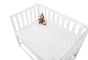 Jersey-Spannbetttuch für Wiegen, Anstellbettchen und Kinderwagen, weiß