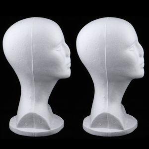 2 Stück Weiblich Styroporkopf Schaum Perückenkopf Schaufensterpuppe Modell Kopf Mannequin Kopf Dekokopf