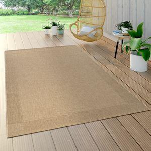 In- & Outdoor Flachgewebe Teppich Sisal Optik Natürlicher Look Einfarbig Beige, Grösse:120x170 cm