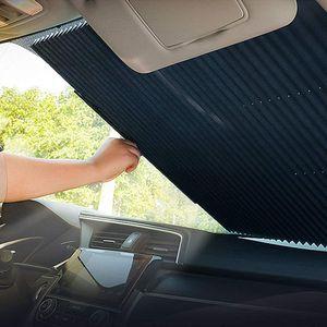 Versenkbare Sonnenschutz für Auto Windschutzscheibe, Automatische Einziehbare Sonnenblende Auto Frontscheibe und Heckscheibe - UV Schutz, Akkordeon Typ Auto Sonnenschutz für SUV/MVP/LKW