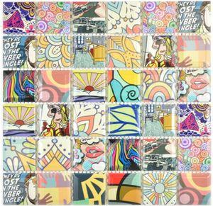 Bunte Retro Style Mosaikfliesen POP UP ART Design Küchenrückwand MODERN ART