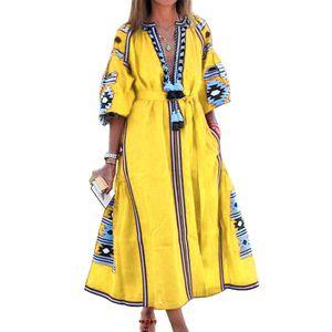Frauen Vintage V-Ausschnitt 3/4 Puffärmel Blumendruck Quaste Large Hem Maxi-Kleid