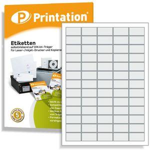 Printation Universal Qualitäts Etiketten - 6500 Stück 38,1 x 21,2 mm weiß selbstklebend bedruckbar - 100 A4 Bogen á 5x13 Labels - 3666 L7651 4606