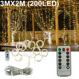 Melario 200 LED Lichtervorhang Vorhang Lichterketten Lichternetz Innen Auße Deko Warmweiß 3 M (Breite) x 2 M (Höhe)