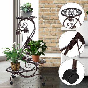 Meco Metall Pflanzenständer Blumentreppe Pflanzregal Blumenständer mit Rädern 3 Stufen 67x 25cm - Braun