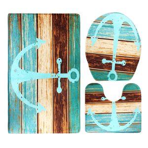 3 Stück Badematten Set, Bad Teppiche Weiches Wasser saugfähig WC Badezimmer Teppich Rutschfest Ständer Motiv: Holzboden Anker