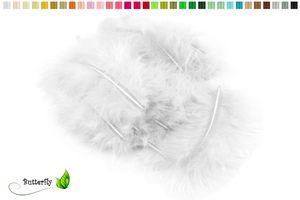 20 Flaumfedern ca. 10cm , Farbauswahl:weiß 029