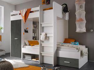 """Etagenbett Kinderbett Hochbett Stockbett Funktionsbett Jugendbett Bett """"Mimi I"""" Weiß / Betonoxid"""