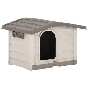 Perfekt® Hundehütte,Outdoor Hundehaus für große Hunde,Platz für ein Hundebett, Beige und Braun 89x75x62 cm🍹1359