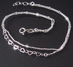 Fußkette 2-lagig Ankerkette 925 Silber Herzen Perlen 24-26cm 14924-26