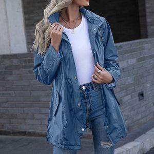 Frauen Hooded Waterproof Zipper Mittellange winddichte wasserdichte Regenmanteljacke Größe:XXL,Farbe:Blau