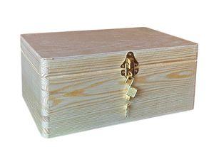 abschließbare Aufbewahrungsbox/ Holzkiste Gr. 1 Kiefer unbehandelt (Schloss 2-messing)