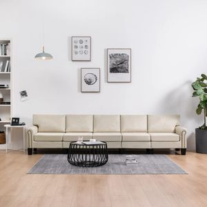 5-Sitzer-Sofa Creme Stoff Wohnlandschaft-Sofa Relaxsofa für Wohnzimmer Schlafzimmer Esszimmer