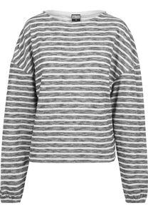 Urban Classics Damen Pullover Ladies Oversize Stripe Pullover Black/White-XL
