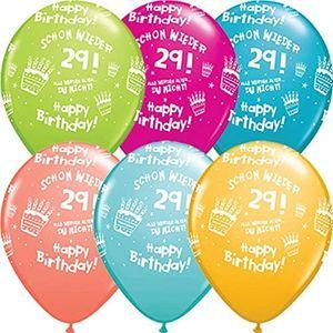DeCoArt... SET 6 Luftballons Geburtstag Schon wieder 29 Ballongas geeignet 28 cm und 10 Ballonverschlüsse weiß