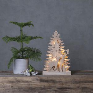 LED Fensterleuchter 'Fauna' - Rentiere - 10 warmweiße LED - H: 44cm - Batteriebetrieb - Holz - braun