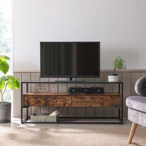 VASAGLE TV-Schrank mit 2 Schubladen 120 x 40 x 50 cm für Fernseher bis 55 Zoll | TV-Regal Fernsehtisch Lowboard Hartglas vintagebraun-schwarz LTV051B01