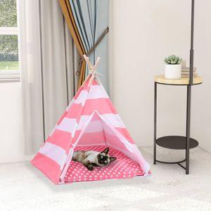 SIRUITON Katzen-Tipi-Zelt mit Tasche Pfirsichhaut Gestreift 60x60x70 cm