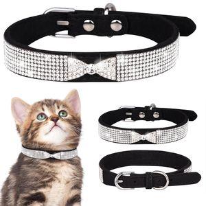 Strass Lederband Hundehalsband Welpen Katze Haustier Halsband, M(31-37cm), Schwarz