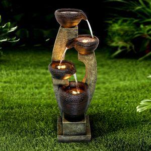 Gartenwasserspiel Unabhängige Funktion Garten oder Haus Elektrisches LED-Licht Wasserfall Schöner Wasserbrunnen