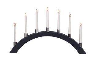 "Best Season LED-Fensterleuchter ""Tall-Bow"" 7flammig Material: Holz/Metall, Farbe schwarz, ca.40x67 cm, 260-60"