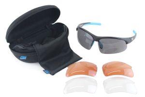Contec Fahrrad Sportbrille '3DIM' schwarz blau - Sonnenbrille 100% UV-Schutz - 3 Filter - mit Etui