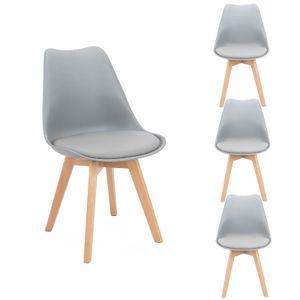 Futurefurniture.®4er Set Esszimmerstühle,esszimmerstühle,mit Massivholz Buche Bein-Grau
