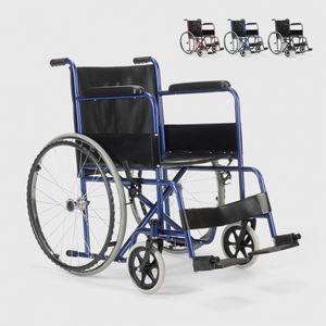Rollstuhl Kunstleder Klapp Orthopädischer Rollstuhl Behinderte und Ältere Menschen VioletFarbe: Blau