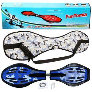 FunTomia® mit LED-Rollen  - 1587 - Design blau Schneeflocke - Waveboard ORIGINAL