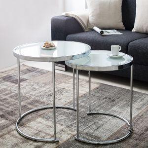 cagü: Art Deco Design 2er Set Beistelltische [SATURNUS] Weiß Opalglasplatte mit Chromgestell 51cm/45cm Höhe