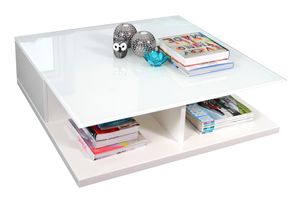 SalesFever Couchtisch quadratisch | zwei Schubladen | MDF-Holz | B 100 x T 100 x H 36 cm | weiß