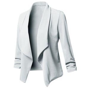 Frauen Solide Blazer Cardigan Coat Lange aermel Open Front Geraffte Asymmetrische Casual Business Anzug Outwear [Hellgrau / S]