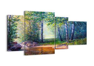 """Leinwandbild - 120x70 cm - """"Idyllische Landschaft""""- Wandbilder - Landschaft Fluss Wald - Arttor - DL120x70-4063"""