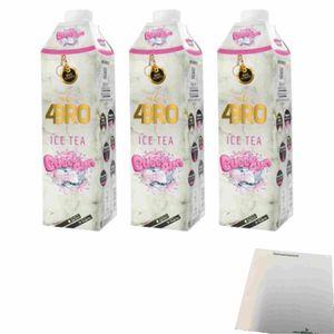 4Bro Ice Tea Bubblegum 3er Pack (3x1000ml Pack Eistee) + usy Block