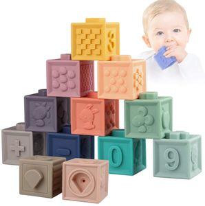 Weich Baby Bausteine - Motorikspielzeug Stapelwürfel Bauklötze - Babyspielzeug Stapelspiel - Montessori Sensorik Spielzeug Beißring Badespielzeug für Kleinkind ab 6 9 12 Monate 1 Jahre