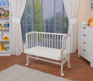 WALDIN Baby Beistellbett mit Matratze, höhen-verstellbar, Holz natur oder weiß lackiert, Farbe:Weiß lackiert