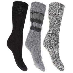 Floso Damen Thermo Winter-Socken, Wollgemisch, 3 Paar W419 (37-41 EU) (Schwarz)