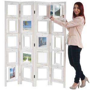 Paravent Fotogalerie II, Raumteiler Trennwand Sichtschutz Foto-Paravent, 160x125cm  weiß