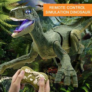 2,4 Ghz Fernbedienung Fuß Roaring Dinosaurier Elektrische Spielzeug für Kinder 3 zu 12 Jahre Alt, RC Realistische Velociraptor Dinosaurier(Grau)