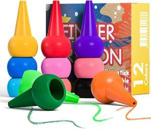 Kleinkinder Wachsmalstifte 12 Farben Stapelbares Handflächengriff Baby Crayons Spielzeug, Sicherheit Ungiftig Wachsmalstift und Abwaschbare Malstifte Spielzeug für Baby Kinder üben Malerei
