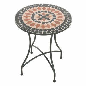 Raburg Mosaiktisch Mayla in SCHWARZ/BEIGE/TERRAKOTTA - Gartentisch mit einzigartigem Muster, handgefertigtes Unikat - Rund ø 60 cm, Höhe 70 cm