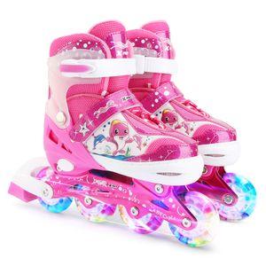 Verstellbare Inline-Skates mit leuchtenden Rädern für Kinder Jungen Mädchen,Farbe:Pink ,Größe:S(31-34)