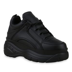 Mytrendshoe Damen Chunky Sneaker Plateau Turnschuhe Schnürer Freizeitschuhe 830860, Farbe: Schwarz, Größe: 38
