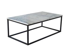 SIT Möbel Couchtisch rechteckig | Platte Marmor weiß | Gestell Metall schwarz | B 110 x T 60 x H 40 cm | 01053-31 | Serie THIS & THAT