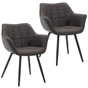 Duhome 2er Set Esszimmerstuhl Armlehnstuhl Sessel Armsessel Stoff Lederoptik Dunkelgrau Metallbeine