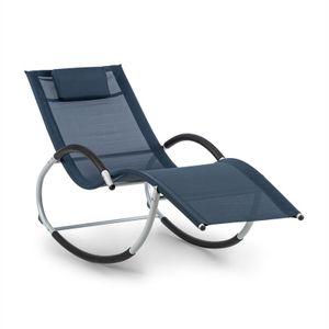 blumfeldt Westwood Rocking Chair Schaukelliege - Liegestuhl , 164 x 83 x 65 cm (BxHxT) , Ergo Comfort: ergonomische Liegefläche , Ergo Relax: verstellbares, abnehmbares Kopfkissen , dunkelblau