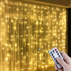 LED Lichtervorhang, 3m x 3m 300 LEDs USB Lichterkettenvorhang Warmweiße Fensterleuchten mit 8 Modi Vorhang Lichterketten IP44 Wasserfest für Außen, Innen, Party, Weihnacht, Schlafzimmer