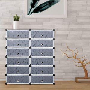 Schuhschrank DIY, 12 Fächer Kunststoff Schuhablage,  Schrank Regalsystem Kunststoff Schuhablage - 95 * 37 * 107cm - Schwarz